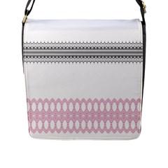 Crown King Quinn Chevron Wave Pink Black Flap Messenger Bag (L)