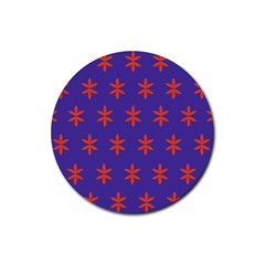 Flower Floral Different Colours Purple Orange Rubber Round Coaster (4 Pack)