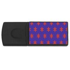 Flower Floral Different Colours Purple Orange USB Flash Drive Rectangular (2 GB)