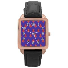 Flower Floral Different Colours Purple Orange Rose Gold Leather Watch