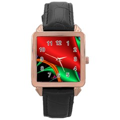 Fractal Construction Rose Gold Leather Watch