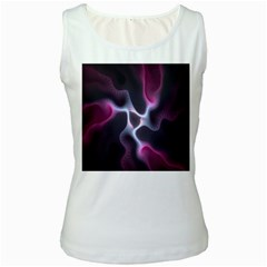 Colorful Fractal Background Women s White Tank Top