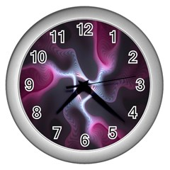 Colorful Fractal Background Wall Clocks (Silver)