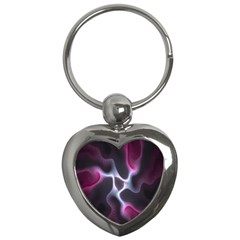 Colorful Fractal Background Key Chains (Heart)