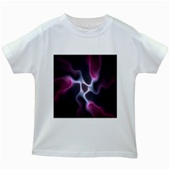 Colorful Fractal Background Kids White T Shirts