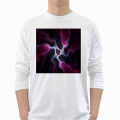 Colorful Fractal Background White Long Sleeve T-Shirts