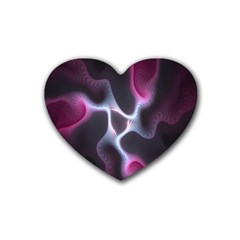 Colorful Fractal Background Rubber Coaster (heart)