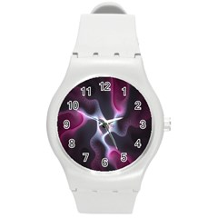 Colorful Fractal Background Round Plastic Sport Watch (M)