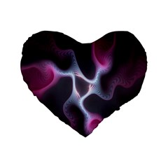 Colorful Fractal Background Standard 16  Premium Heart Shape Cushions