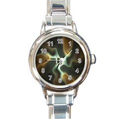 Colorful Fractal Background Round Italian Charm Watch