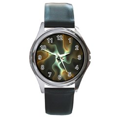 Colorful Fractal Background Round Metal Watch