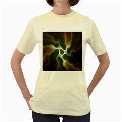Colorful Fractal Background Women s Yellow T Shirt