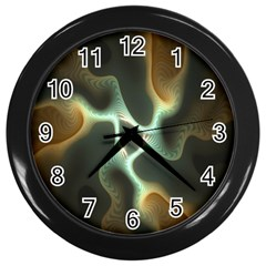 Colorful Fractal Background Wall Clocks (Black)