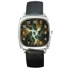 Colorful Fractal Background Square Metal Watch