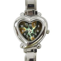 Colorful Fractal Background Heart Italian Charm Watch