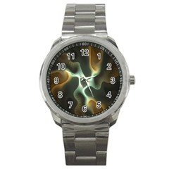 Colorful Fractal Background Sport Metal Watch