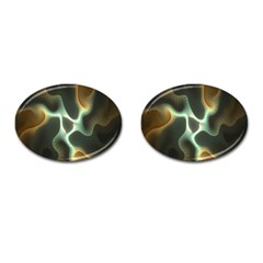 Colorful Fractal Background Cufflinks (Oval)