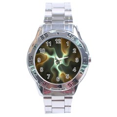 Colorful Fractal Background Stainless Steel Analogue Watch