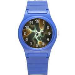 Colorful Fractal Background Round Plastic Sport Watch (S)