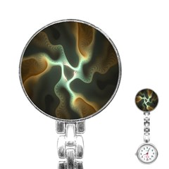 Colorful Fractal Background Stainless Steel Nurses Watch