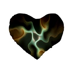 Colorful Fractal Background Standard 16  Premium Flano Heart Shape Cushions