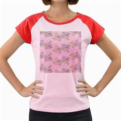 Floral Flower Rose Sunflower Star Leaf Pink Green Blue Women s Cap Sleeve T-Shirt