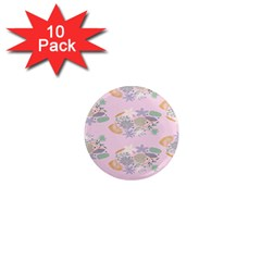 Floral Flower Rose Sunflower Star Leaf Pink Green Blue 1  Mini Magnet (10 Pack)