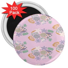 Floral Flower Rose Sunflower Star Leaf Pink Green Blue 3  Magnets (100 pack)