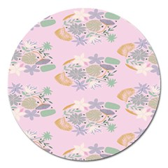 Floral Flower Rose Sunflower Star Leaf Pink Green Blue Magnet 5  (round)