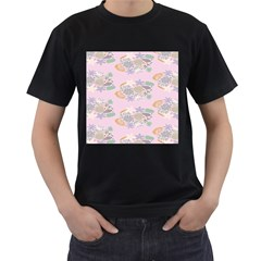 Floral Flower Rose Sunflower Star Leaf Pink Green Blue Men s T-Shirt (Black) (Two Sided)