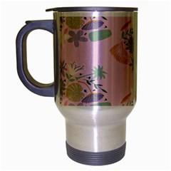 Floral Flower Rose Sunflower Star Leaf Pink Green Blue Travel Mug (Silver Gray)