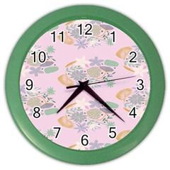 Floral Flower Rose Sunflower Star Leaf Pink Green Blue Color Wall Clocks