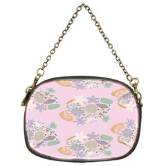 Floral Flower Rose Sunflower Star Leaf Pink Green Blue Chain Purses (Two Sides)