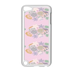 Floral Flower Rose Sunflower Star Leaf Pink Green Blue Apple iPod Touch 5 Case (White)