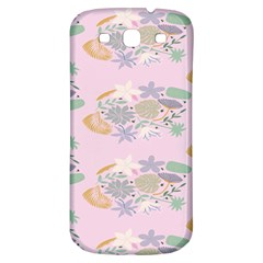 Floral Flower Rose Sunflower Star Leaf Pink Green Blue Samsung Galaxy S3 S III Classic Hardshell Back Case