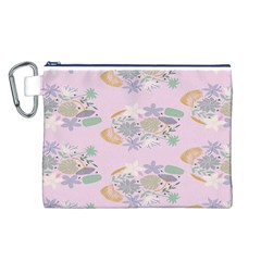 Floral Flower Rose Sunflower Star Leaf Pink Green Blue Canvas Cosmetic Bag (L)