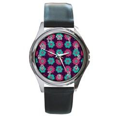 Flower Floral Rose Sunflower Purple Blue Round Metal Watch