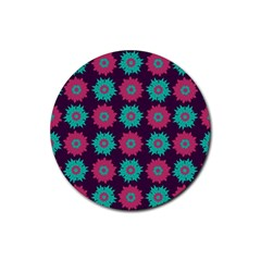 Flower Floral Rose Sunflower Purple Blue Rubber Round Coaster (4 Pack)