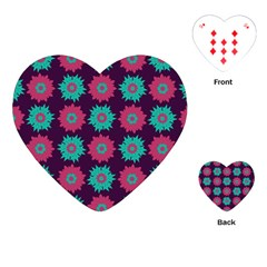 Flower Floral Rose Sunflower Purple Blue Playing Cards (Heart)
