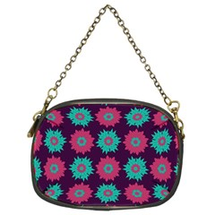 Flower Floral Rose Sunflower Purple Blue Chain Purses (two Sides)