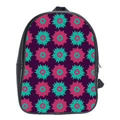 Flower Floral Rose Sunflower Purple Blue School Bags(Large)
