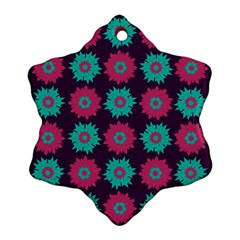 Flower Floral Rose Sunflower Purple Blue Snowflake Ornament (Two Sides)