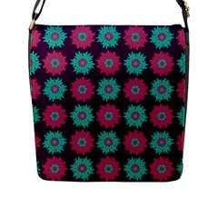 Flower Floral Rose Sunflower Purple Blue Flap Messenger Bag (L)
