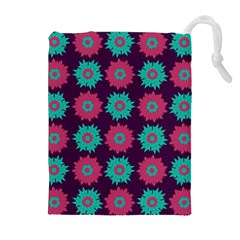 Flower Floral Rose Sunflower Purple Blue Drawstring Pouches (Extra Large)