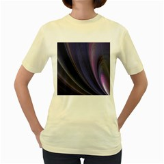 Purple Fractal Women s Yellow T-Shirt