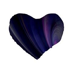 Purple Fractal Standard 16  Premium Flano Heart Shape Cushions