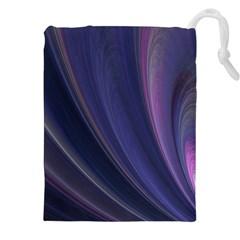 Purple Fractal Drawstring Pouches (XXL)