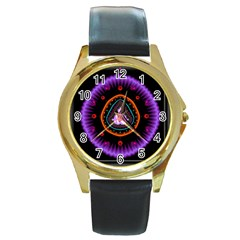 Hypocloid Round Gold Metal Watch