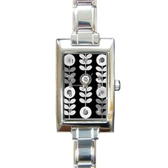 Floral Pattern Seamless Background Rectangle Italian Charm Watch