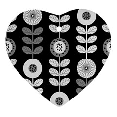 Floral Pattern Seamless Background Ornament (heart)